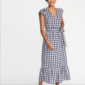 OLD NAVY Blue Gingham Ruffle Tiered Midi Dress